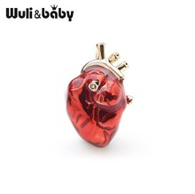 Wuli&baby Red Enamel Heart Brooches For Women And Men Hospital Clinic Professional Uniform Brooch Pins Team Gifts(China)