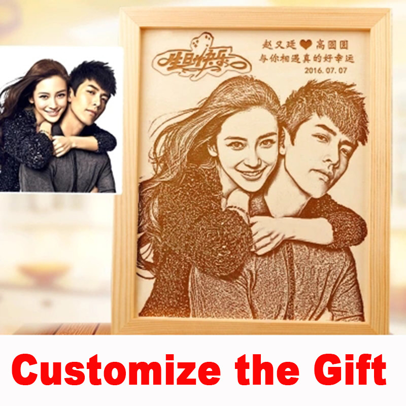 photo frame carved on the board permanent preservation photos wedding birthday present customize men39