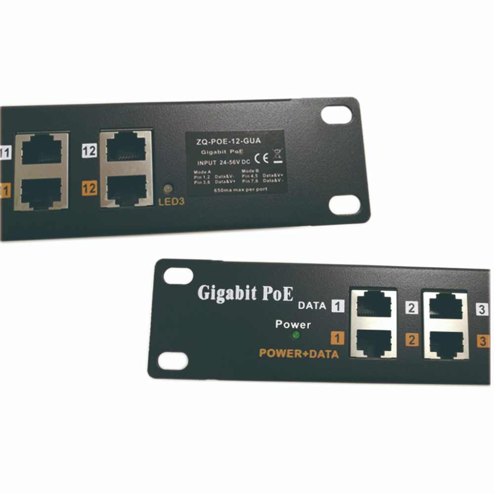 12 Port Gigabit POE Injector midspan Multiport 1000Mbps POE Patch Panel for  Aruba Cisco WiFi Access Point office network upgrade