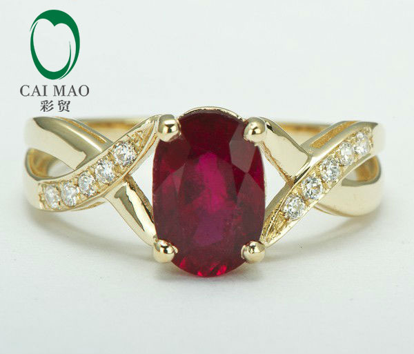 Caimao 2.19ct Blood Red Ruby & Natural Diamond 14k Yellow Gold Engagement Ring Fine Jewelry free shipping 1 48ct 14k yellow gold red ruby and natural diamond ring jewelry