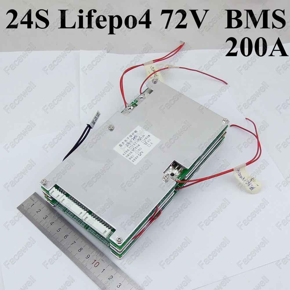 High quality BMS 24s 72V LiFepo4 72v battery pack 200A large current smart protection board circuit for 72v bms 76.8v 87.6v  air dragon portable air compressor