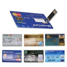 Pendrive Credit Card usb flash drive 4GB 8GB 16GB 32GB 64GB memory disk mini computer gift flash drive 128gb usb stick цена и фото