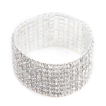 27mm Silver Plated Bracelet Bangle Rhinestone Jewelry