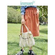INMAN Spring Autumn Cotton High Elastic Waist All Matched Slim Fashion A line Women Skirt