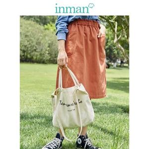 Image 1 - INMAN Spring Autumn Cotton High Elastic Waist All Matched Slim Fashion A line Women Skirt