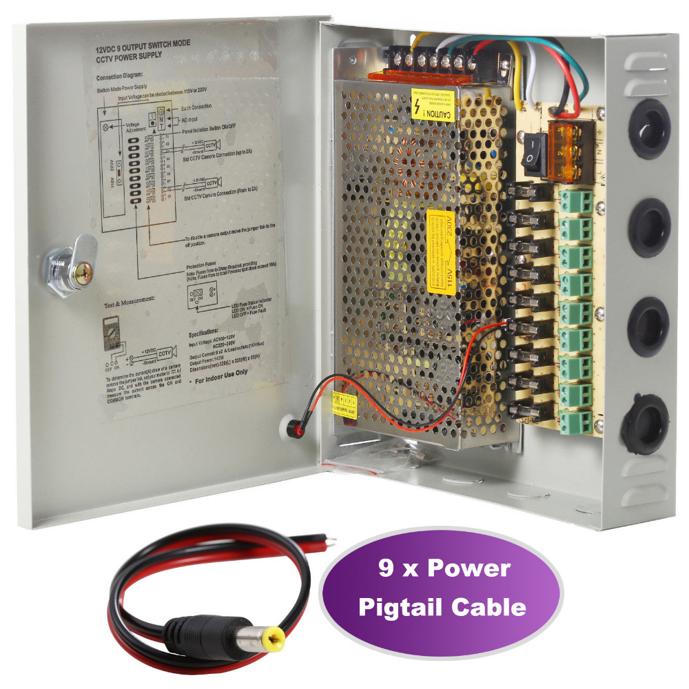 small resolution of 9 channel port power supply box cctv camera distribution ptc fuse 12vdc 15a