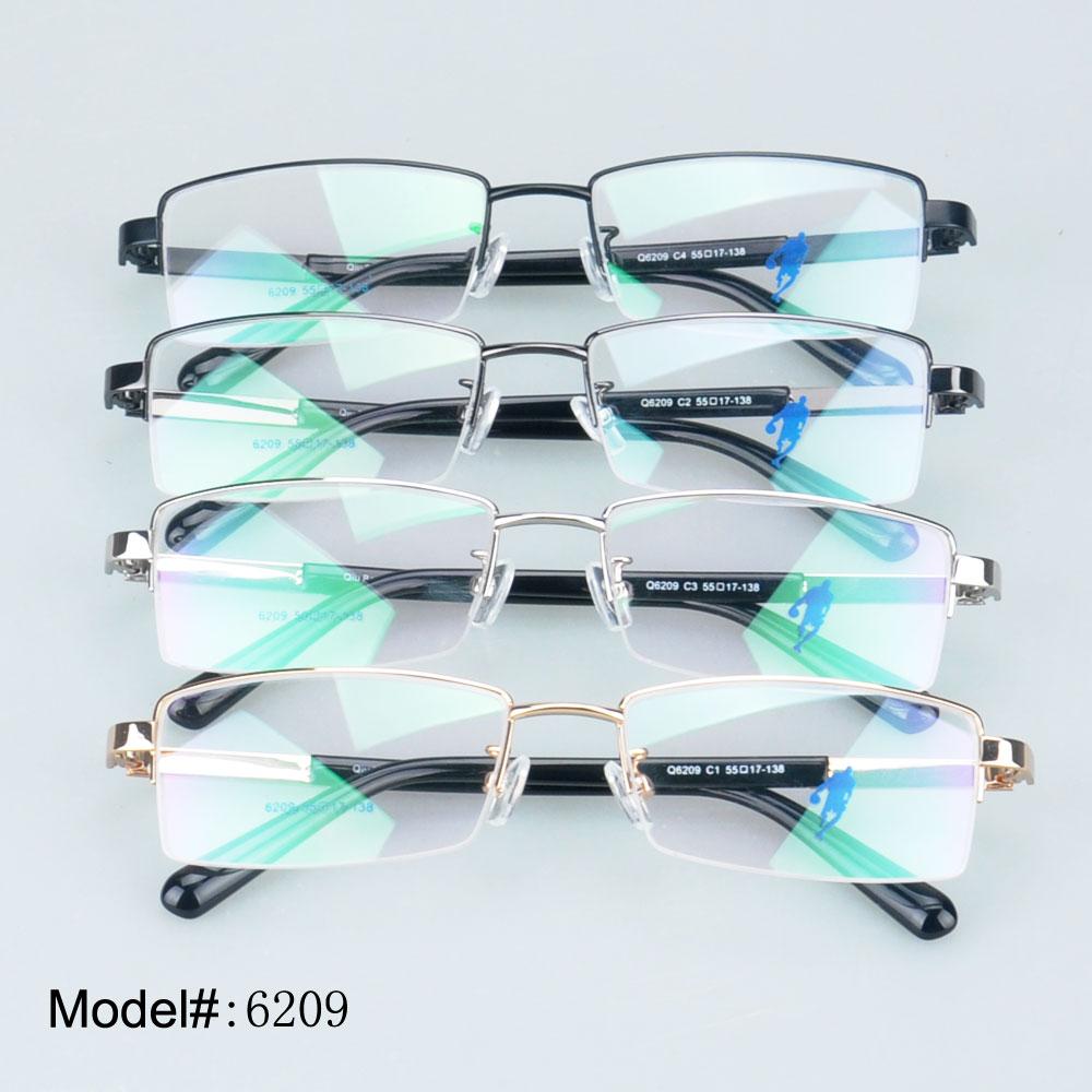 df0ff2868d 6209 Man s rectangle half rim with plaid temple online store alloy  eyeglasses optical frame myopia prescription