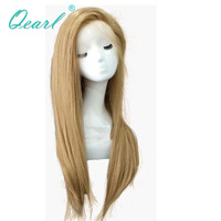 Qearl Hair blonde full lace wig Brazilian remy human hair lace wig silky straight glueless wigs baby hair for black white women