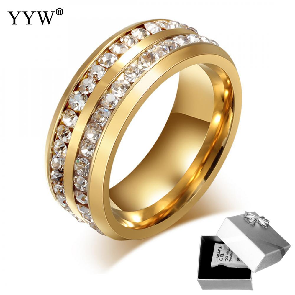 Unisex Finger Ring Titanium Gold Color Plated Two Row Crystal Women For Elegant Finger Love Wedding Engagement Rings Jewelry