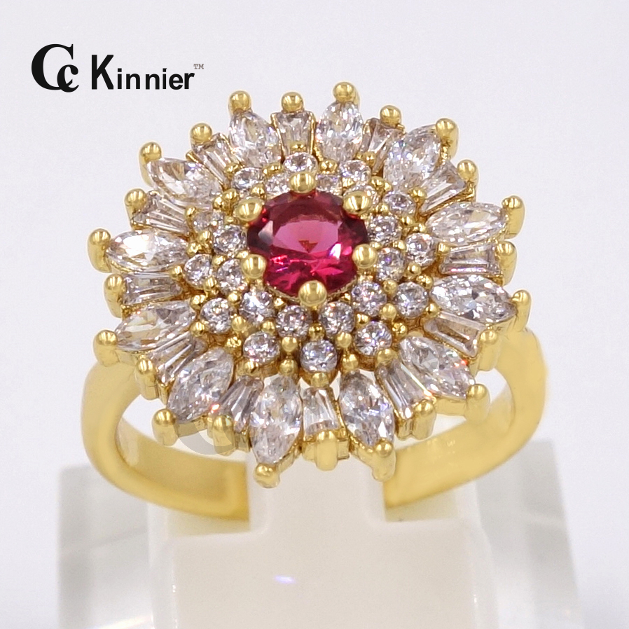 HOT SALE Dubai Copper Ring Gold Plated Australian Crystal