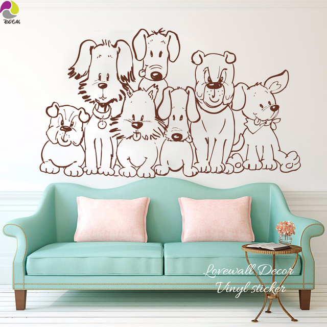 Cute Pet Dog Wall Sticker Sofa Bedroom Boxser Vicious Spotty Husky Dog  Basset Hound Wall Decal