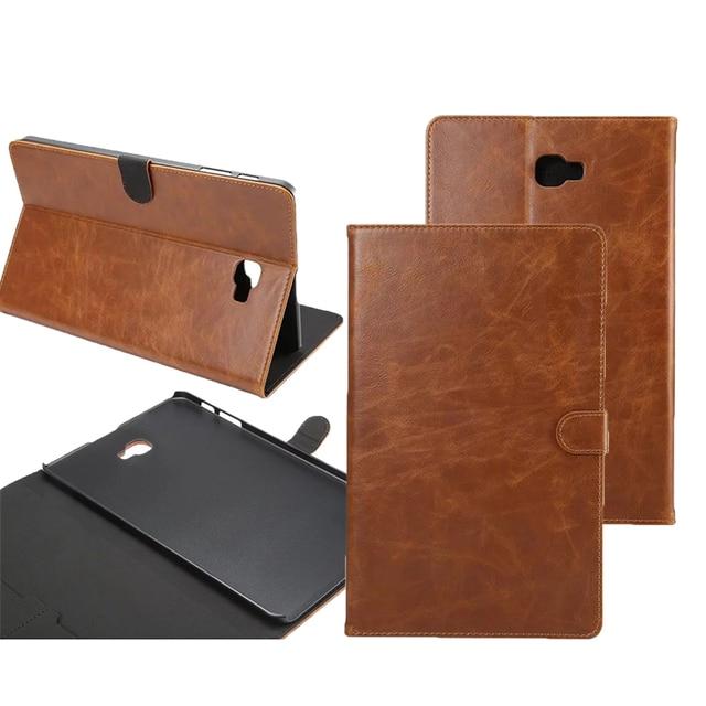 Capa do flip para samsung galaxy tab a 10.1 2016 t585 t580 SM-T580 T580N casos Tablet padrão Crazy Horse Smart Cover shell pele