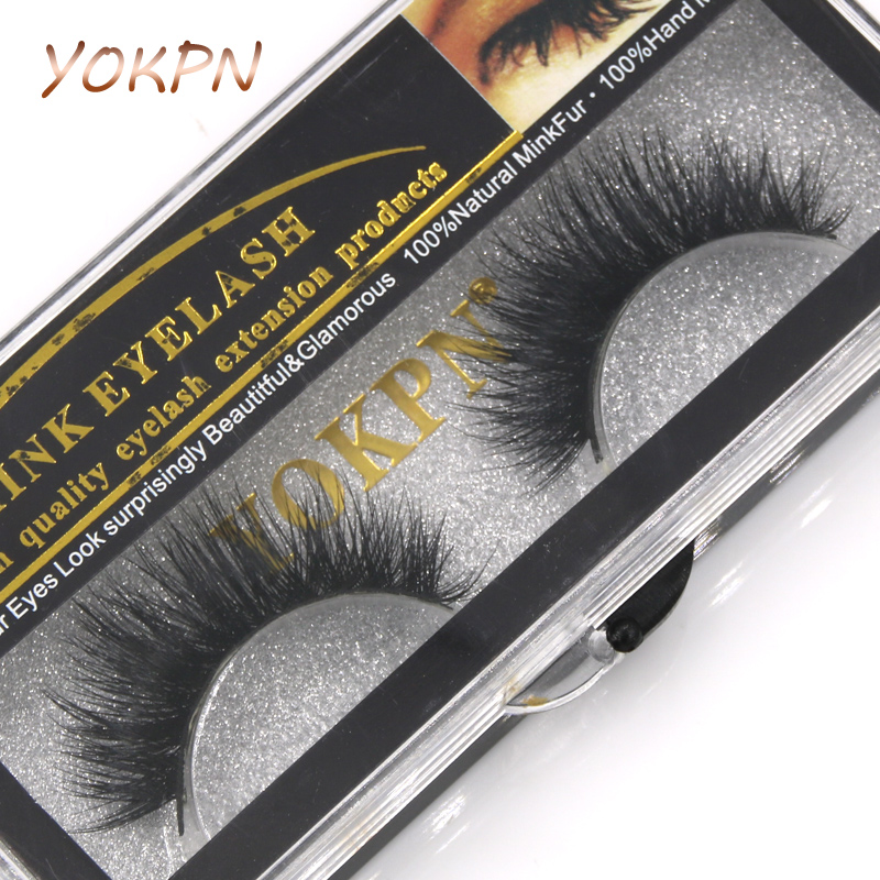 YOKPN New Water Mink False Eyelashes Thick Cross D02 Handmade Cotton Stems Mink Fake Eyelashes Natural Makeup Tools Lashes