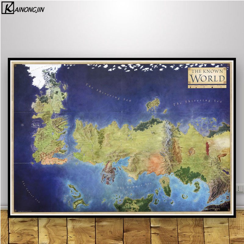 Game of Thrones Posters and Prints TV Show Westeros Map Art Poster Game Of Thrones Map The Known World on game of thrones continents, game of thrones world map pdf, game of thrones maps and families, ice and fire world map, sca known world map, game of thrones chart,