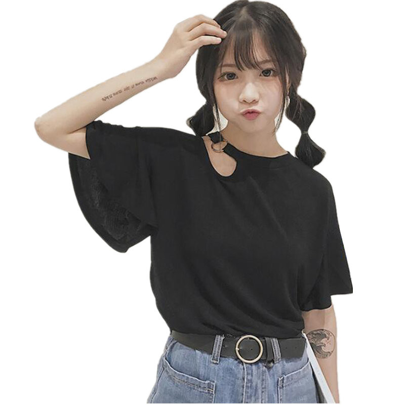 2017 Fashion Harajuku T-shirt For Women Summer Tops Casual Loose Hole And Short Sleeve O-neck Vogue Female T-shirt Top