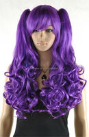 FREE SHIP>>>A2351348 new purple long curly cosplay wig + two ponytails
