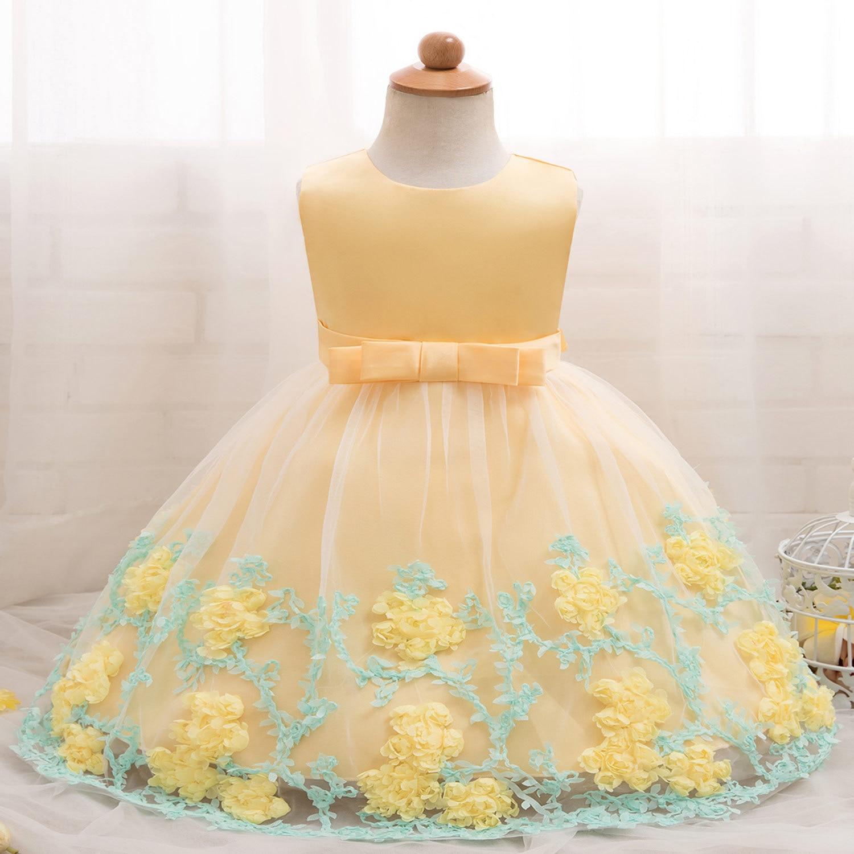 Bébé bébé pleine lune une année complète de vie robe pleine fleur gaze épaisse et désordonnée robe de mariée fille