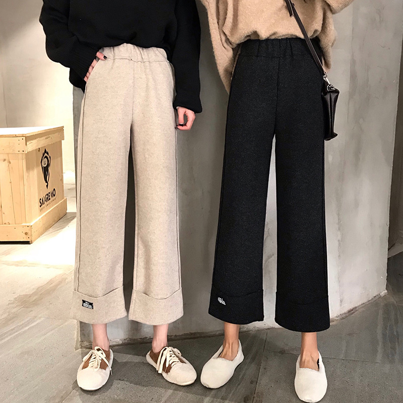 2019 Autumn And Winter   Wide     Leg     Pants   Women Elastic High Waist Casual Women   Pant   Woolen Ankle-Length   Pants   Female Basic Trousers