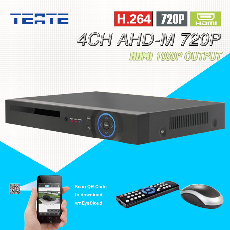 TEATE AHD-M 4 channel HD AHD 720P HDMI 1080P security 4ch CCTV System audio security surveillance H.264 dvr recorder T-G04D7PB02 teate ahd 8 channel 720p 1080n h 264 video recorder 3 usb port hdmi network dvr 8ch cctv system for security camera surveillance