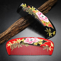 2019 diaphanous handmade Boxwood combs Authentic hand painted lacquer art wood combs hair style designer for ladies pocket combs