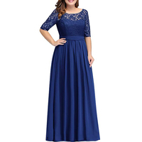 2019 Women's Chiffon With Lace Plus Size Mother Of Bride Dress Long Half Sleeves Madre De La Novia