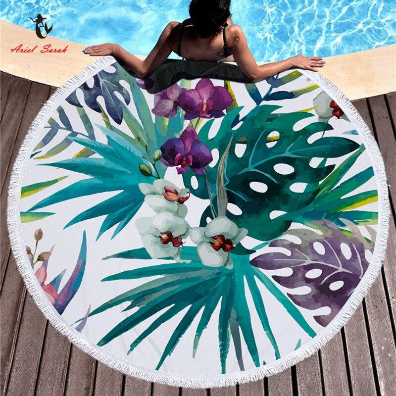 Ariel Sarah Heißer Runde Strand Handtuch Green Leaf Strand Handtuch mit Quasten Mikrofaser Picknick Decke Matte Tapisserie 2019