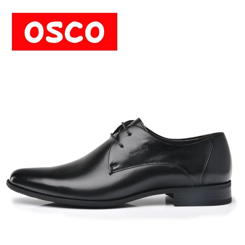 OSCO Fashion Men Shoes Genuine Leather Men Dress Shoes Brand Luxury Men's Business Casual Classic Gentleman Shoes Man #RU0001