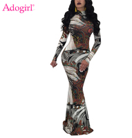 Adogirl Plus Size Women Fashion Print Maxi Dress High Neck Long Sleeve Slim Bodycon Long Evening