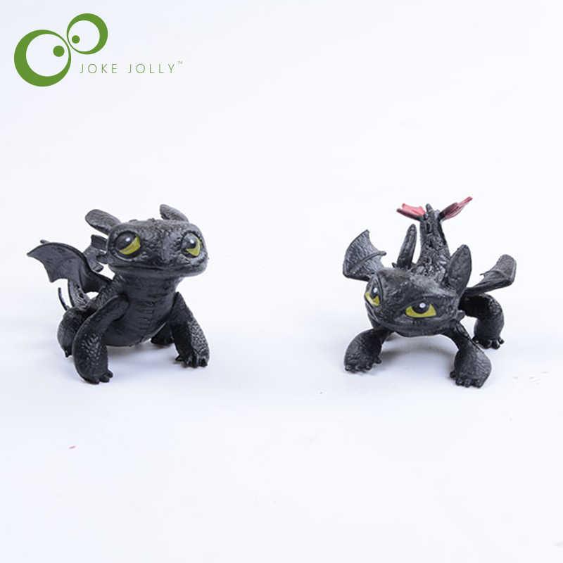 2 1 pc Como Treinar O Seu Dragão Figuras de Ação Brinquedos Fúria Da Noite Desdentado Dragão PVC Crianças Brinquedos Crianças Brinquedos juguetes GYH