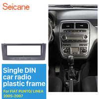 De Seicane Grey 1Din Radio de coche Fascia para 2005 de 2006 FIAT 2007 PUNTO LINEA estéreo instalar Dash Kit DVD marco CD Trim
