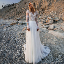 Cianlsria 2019 Bohemian V Neck Long Sleeves Wedding Dress