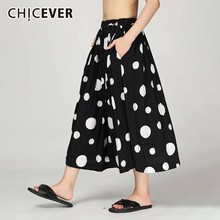 CHICEVER Summer Casual Dot Print Women Skirt Elastic High Waist Pockets Loose Big Size Mid Calf Pleated Skirts 2019 Fashion New