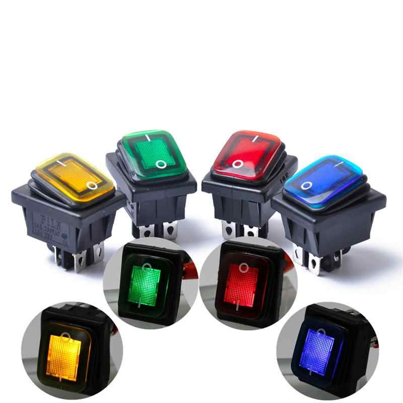 Rocker Toggle Switch On-Off-On 4 Pins 12V DC Car Boat Automobiles Waterproof LED Latching Switches