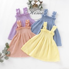 Baby Girl Summer Clothes Solid Print Strap  Casual Sleeveless Dress Kids Toddler Princess Sundress 1-4T Baby Girls new summer toddler kids baby girl sleeveless backless cartoon girls print princess dress sundress clothes