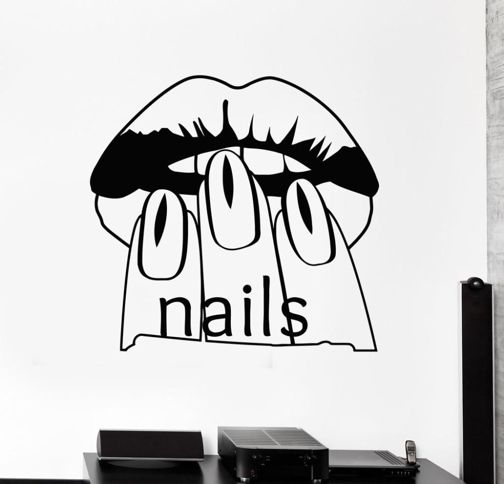 Nagel salon schönheit frau wandaufkleber vinyl aufkleber maniküre ...