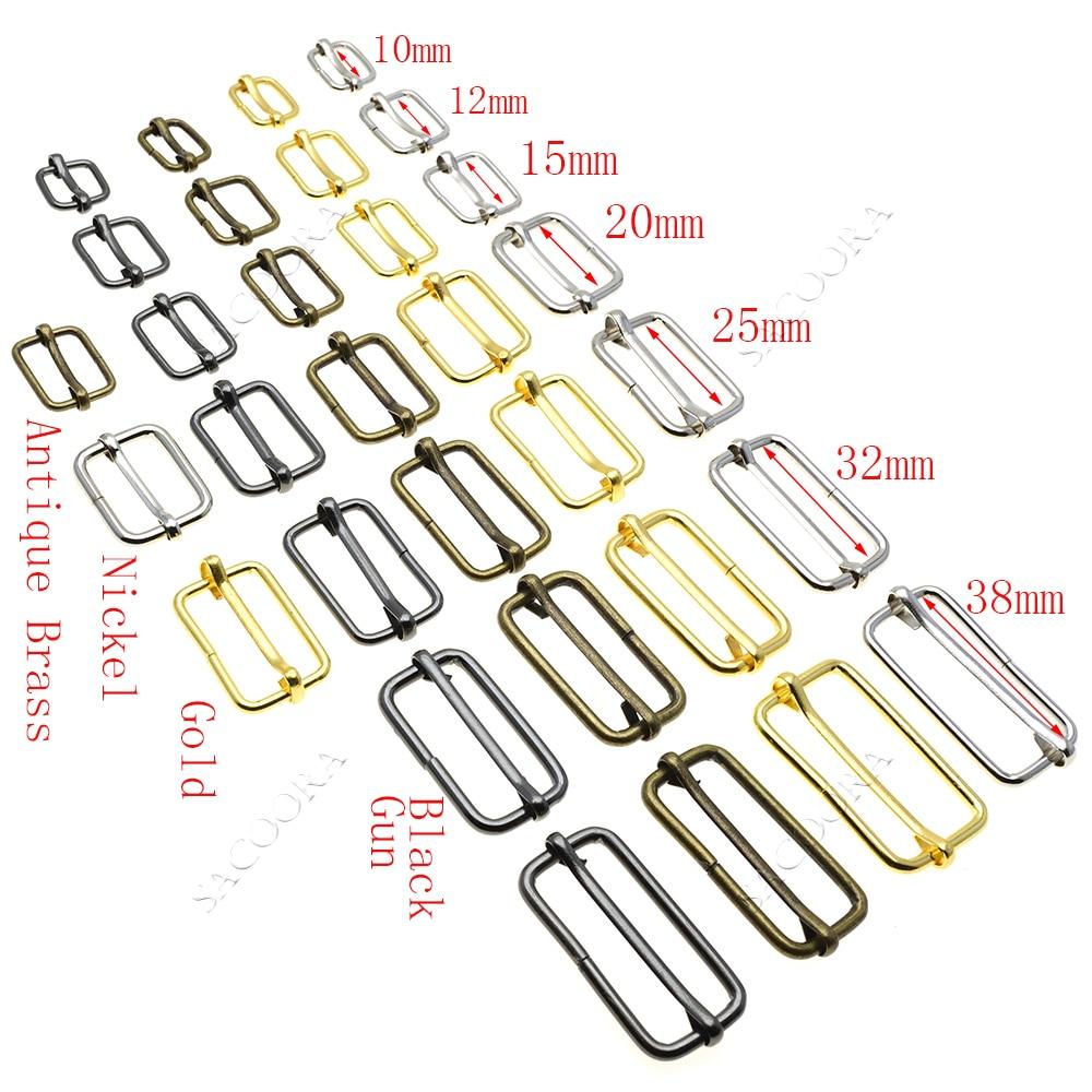 5pcs/pack Metal Slides Tri-Glides Wire-Formed Roller Pin Buckles Strap Slider Adjuster Buckles Rectangle Adjuster Belt Buckles