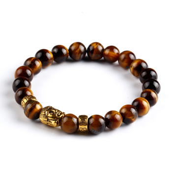 Tiger Eye Bracelet Gold Buddha Natural Stone Beads Elastic Rope Chain Men Charm Bracelets Bangles For Women Male jewellery gift