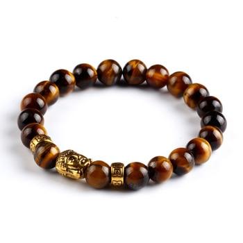 Tiger Eye Bracelet Gold Buddha Natural Stone Beads Elastic Rope Chain Men Charm Bracelets Bangles For Women Male jewellery gift