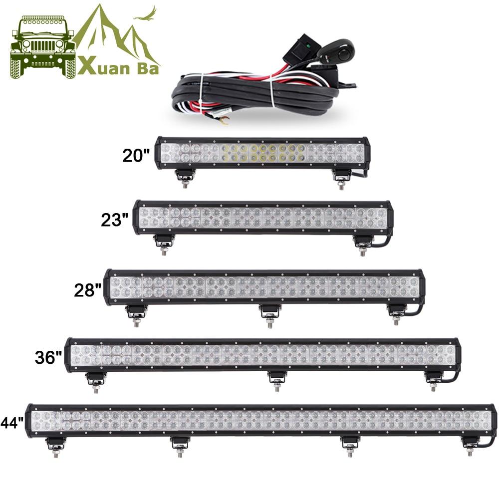 """XuanBa 12 """"72W 28"""" 180 W LED světelná lišta pro 4x4 terénní vůz SUV ATV lodní vůz 4WD 12V 24V kombinovaný paprsek vedl práci offRoad Barová světla"""