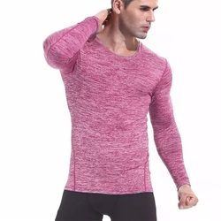 DZ18159 Men High Quality T-shirt Men Long Sleeve O-neck Top elastic Quick Dry Absorbent T-shirt Football Basketball Sportswear