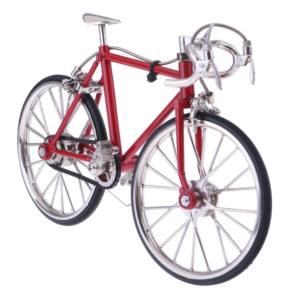 1:10 масштаб сплава гоночный велосипед кукольной миниатюры DIY Модель мебель, украшения сада аксессуары красный