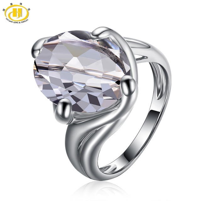 HUTANG Natural White Topaz Solid 925 Sterling Silver Solitaire Ring Gemstone For Women's New
