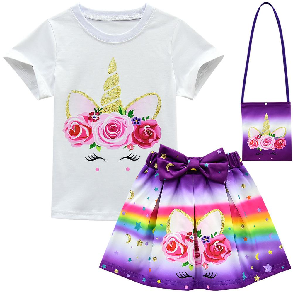 Unicorn Clothes Baby Girls Dresses For Party And Wedding Teens Fashion Kids Summer Clothes Sets Toddler Outfits Childrens Shorts 1