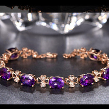 Natural Amethyst Women's Bracelet 18K Gold Zircon Gemstone Fine Jewelry 925 Sterling Silver pulseira feminina donna bizuteria