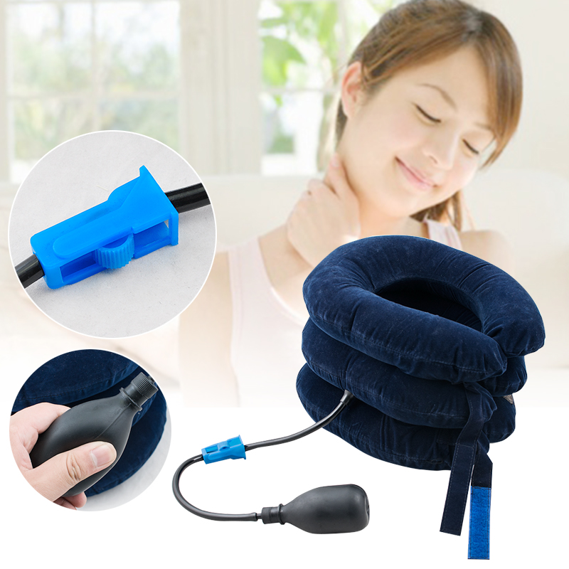 3 Layers U-Shape Relax Soft Air Inflatable Pillow Cervical Neck Head Pain Traction Support Pain Relief Neck Massage Relax new design product good neck hammock for neck pain relief neck relief fatigue door handle hanging head neck hammock