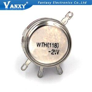 2 шт., потенциометр WTH118, 2 Вт, 1 к, 2,2 К, 4,7 к, 10 к, 22 к, 47 к, 100 к, 470 к, 1 м, круглый вал, вращающийся конический потенциометр из углерода