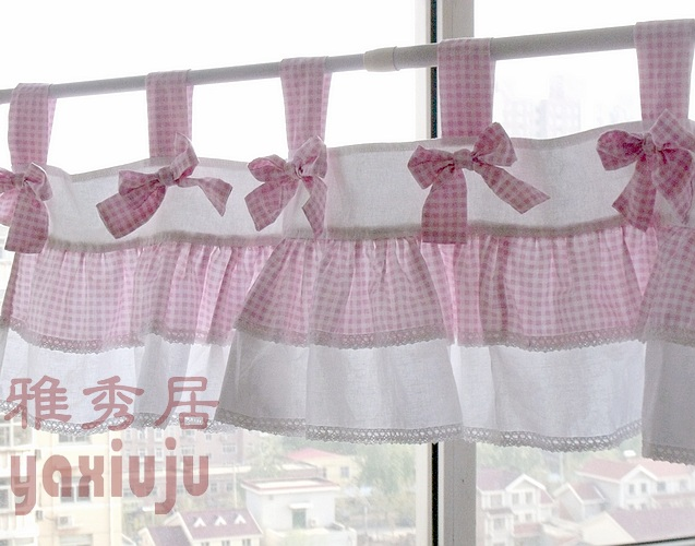 Free Shipping Plaid Bow Pastoral Beautiful Curtains For Living Room Bedroom  Coffee Short Kitchen Curtains 40*150cm Customized