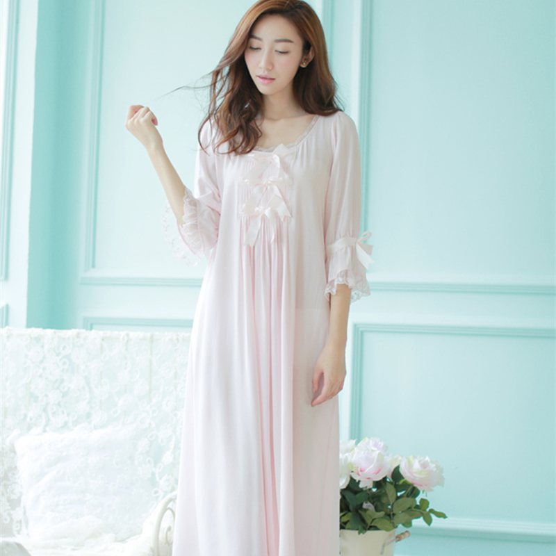 Princess Sleepwear Women Sexy Negligee Gown Bow Vintage Nightgown Long Nightdress Ladies Sleepwear One-piece Dress Soft 2Color