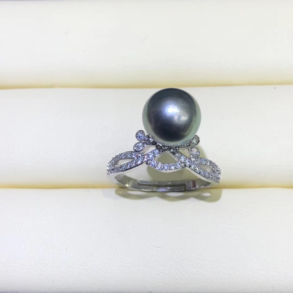 Ring Findings Adjustable Ring Jewelry Parts Fittings Silver Accessories for Freshwater Akoya Edison Pearls Coral Beads