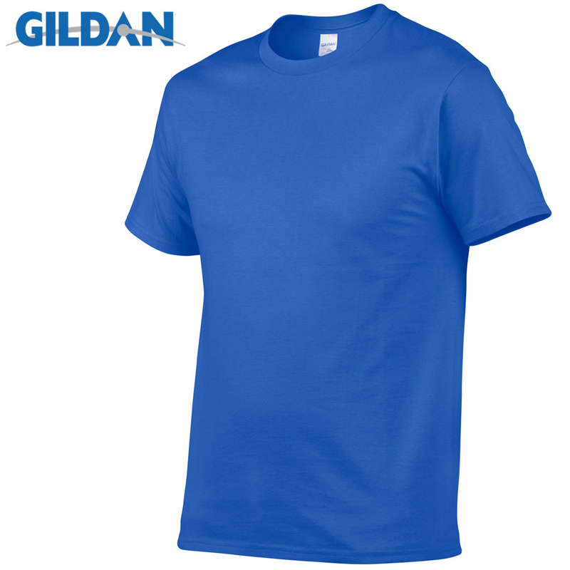 Gildan Brand Hot Sale Men's Summer 100% Cotton   T  -  Shirt   Men Casual Short Sleeve O-Neck   T     Shirt   Comfortable Solid Color Tops Tees